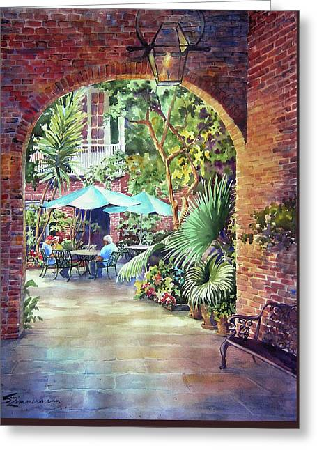 Courtyard Greeting Card by Sue Zimmermann