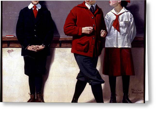 Cousin Reginald Spells Peloponnesus Greeting Card by Norman Rockwell
