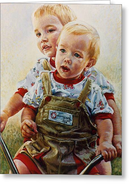Boy Pastels Greeting Cards - Cousins Greeting Card by Jean Hildebrant