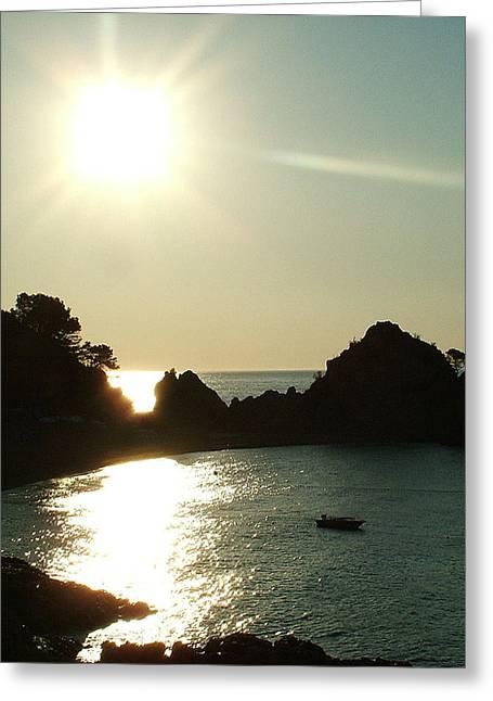 Cove At Night Greeting Card by John Bradburn