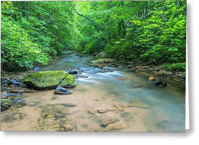 Greeting Card featuring the photograph Cove Creek Panorama by Ranjay Mitra