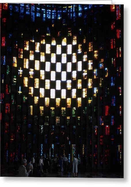 Coventry Cathedral Stained Glass Window England Greeting Card by Richard Singleton