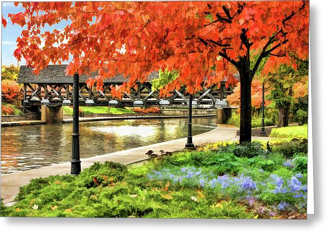 Greeting Card featuring the painting Covered Bridge Along Riverwalk by Christopher Arndt