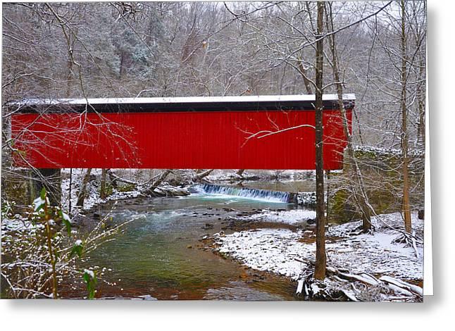 Covered Bridge Along The Wissahickon Creek Greeting Card