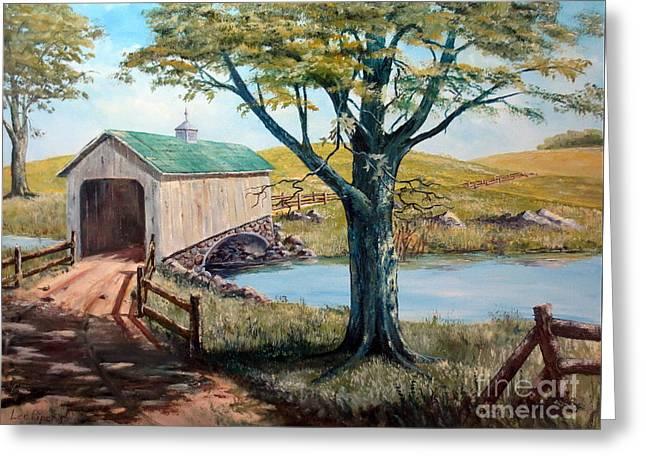 Covered Bridge, Americana, Folk Art Greeting Card by Lee Piper