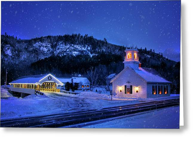Covered Bridge And White Church - Stark, Nh Greeting Card