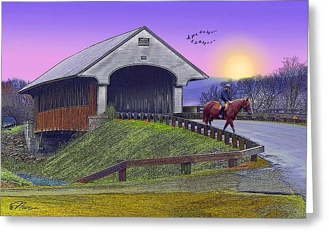 Covered Bridge At Dusk Greeting Card