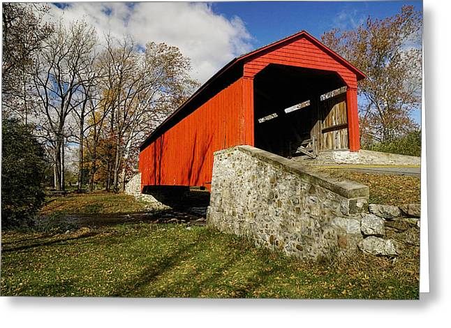 Covered Bridge At Poole Forge Greeting Card by William Jobes