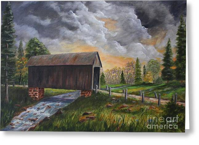 Covered Bridge At Sunset Greeting Card by Marlene Kinser Bell