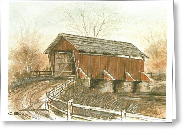 Covered Bridge Greeting Card by Charles Roy Smith