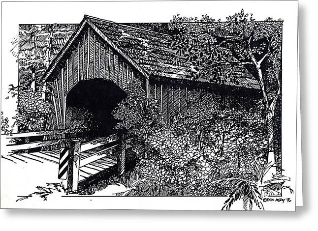 Covered Bridge Greeting Card by Donald Aday