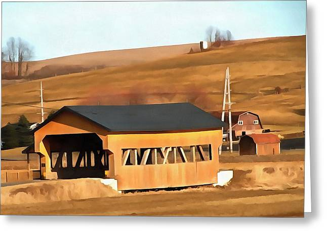 Covered Bridge In Amish Country Ohio Greeting Card by Dan Sproul