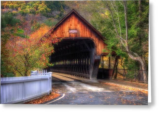 Covered Bridge In Autumn - Woodstock Vermont Greeting Card by Joann Vitali