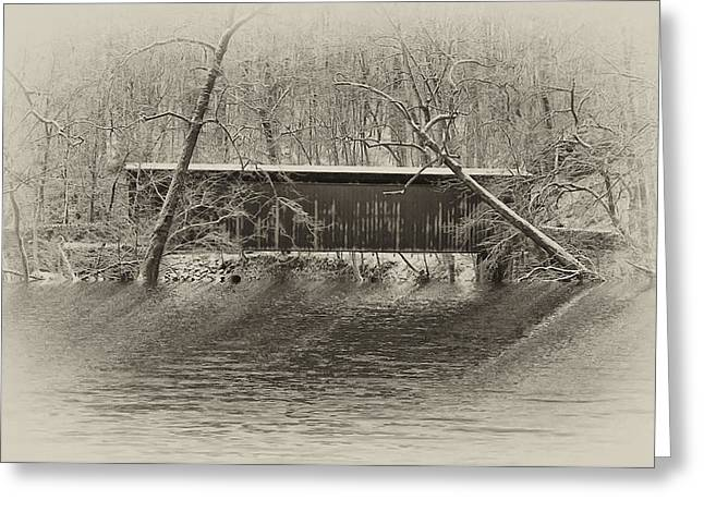 Covered Bridge In Black And White Greeting Card by Bill Cannon