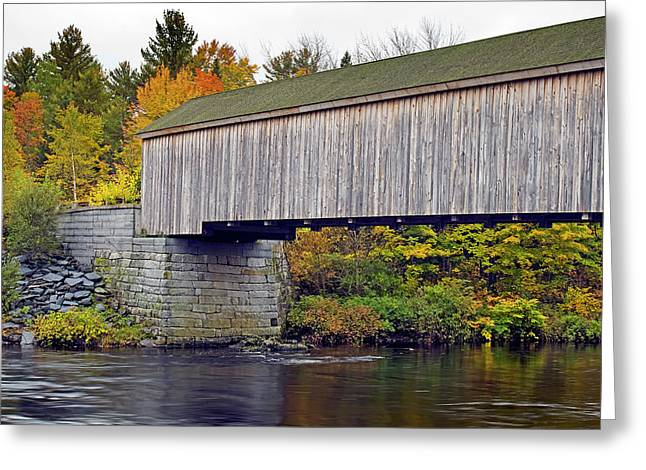 Covered Bridge Greeting Cards - Covered Bridge in Maine during Fall Greeting Card by Brendan Reals