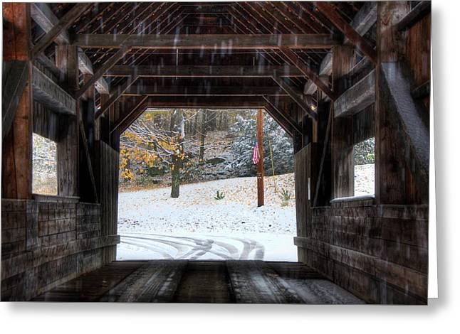 Greeting Card featuring the photograph Covered Bridge In Snow - Warren Vt by Joann Vitali