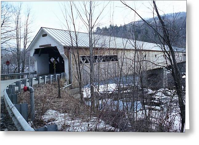 Covered Bridge In Southern Vermont Greeting Card by John Power