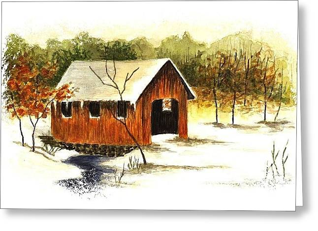 Covered Bridge In The Snow Greeting Card by Michael Vigliotti