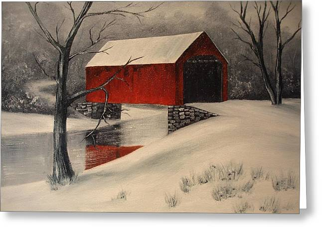 Covered Bridge In The Snow Greeting Card by Rosie Phillips