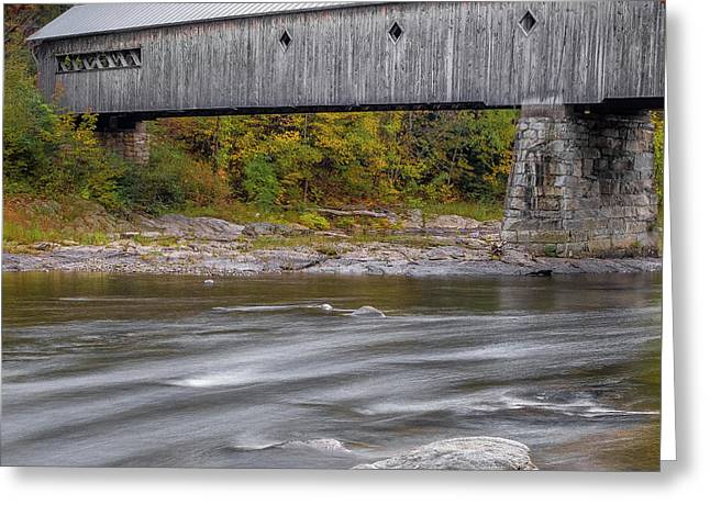 Covered Bridge In Vermont With Fall Foliage Greeting Card