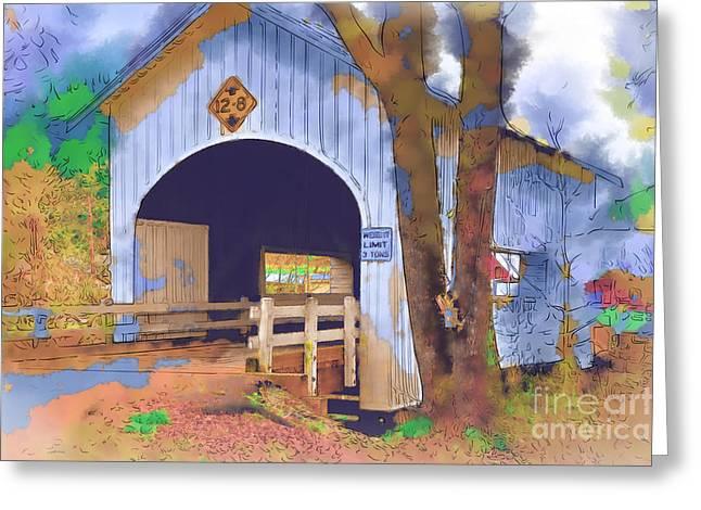 Covered Bridge In Watercolor Greeting Card