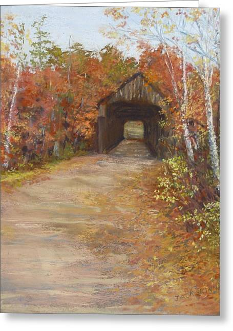 Greeting Card featuring the painting Covered Bridge  Southern Nh by Jack Skinner