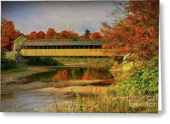 Covered Bridge Vermont Autumn Greeting Card by Deborah Benoit