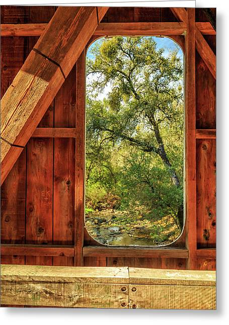Greeting Card featuring the photograph Covered Bridge Window by James Eddy