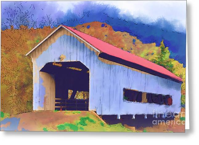 Covered Bridge With Red Roof Greeting Card
