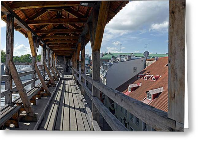 Covered Bridge With St Olafs Church Greeting Card by Panoramic Images