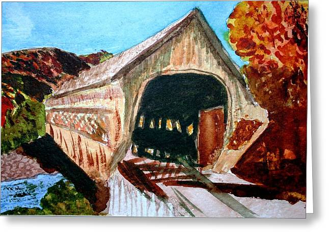 Covered Bridge Woodstock Vt Greeting Card by Donna Walsh