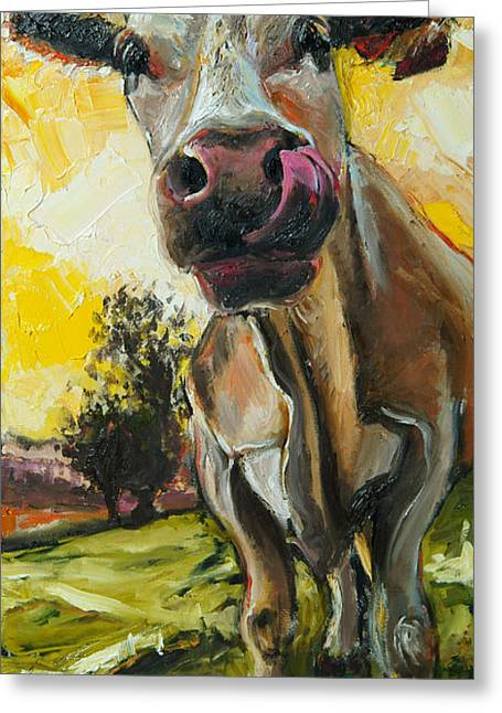 Cow 1 Greeting Card by Claire Kayser