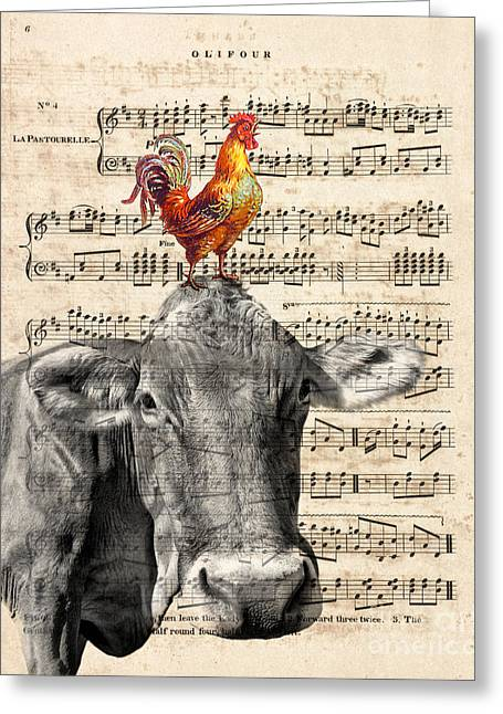 Cow And Rooster Greeting Card