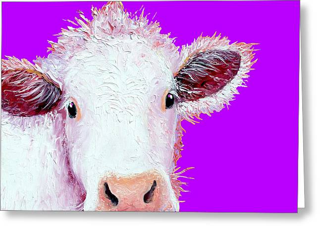 Cow Art - Charolais On Purple Greeting Card by Jan Matson