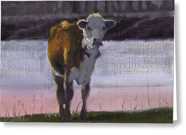 Cow At The Pond Greeting Card
