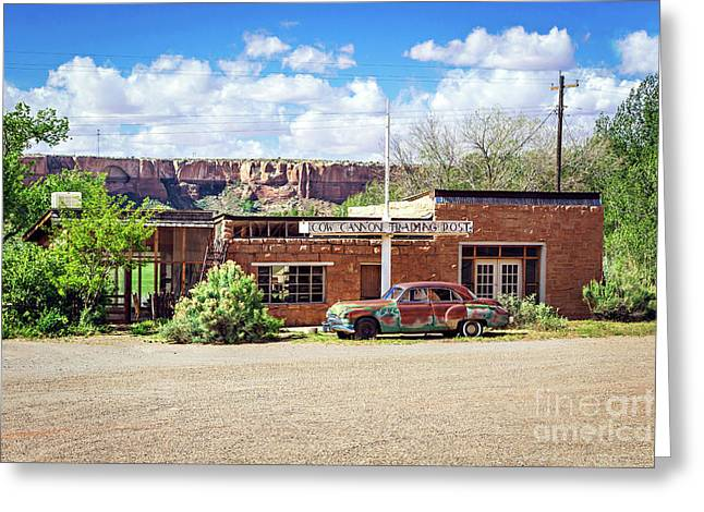 Cow Canyon Trading Post Greeting Card by Joan McCool