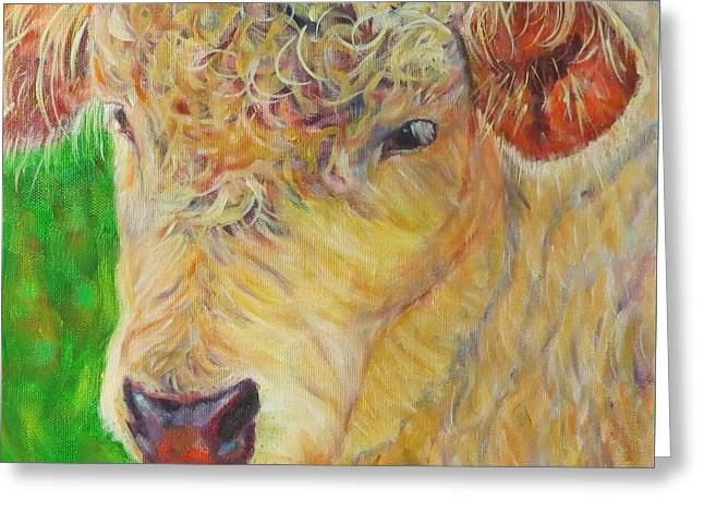 Cute And Curly Cow Greeting Card