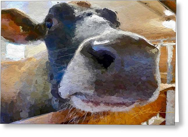 Greeting Card featuring the painting Cow Face Close Up by Joan Reese