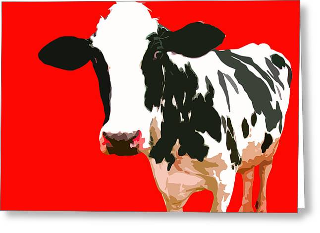 Cow In Red World Greeting Card by Peter Oconor
