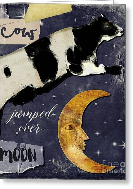 Cow Jumped Over The Moon Greeting Card by Mindy Sommers