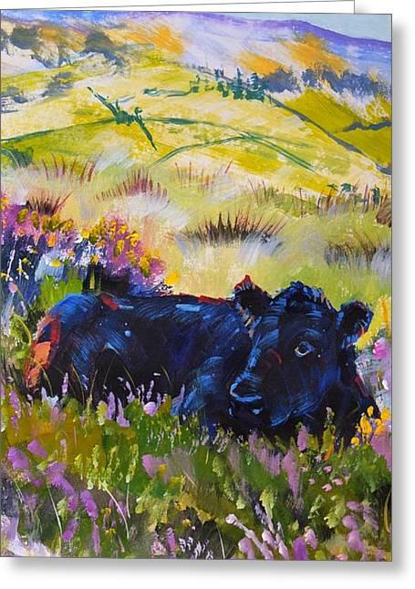 Cow Lying Down Among Plants Greeting Card