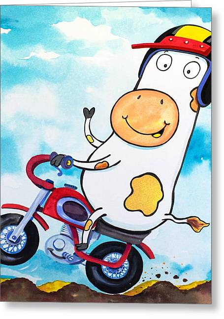 Cow Motocross Greeting Card