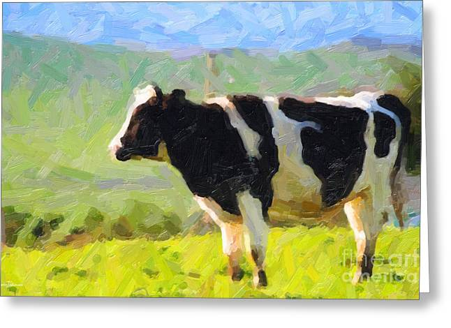 Cow On A Hill Greeting Card by Wingsdomain Art and Photography