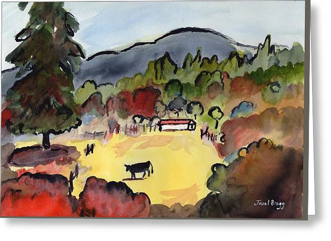 Cow On The Way To Alger Greeting Card by Janel Bragg