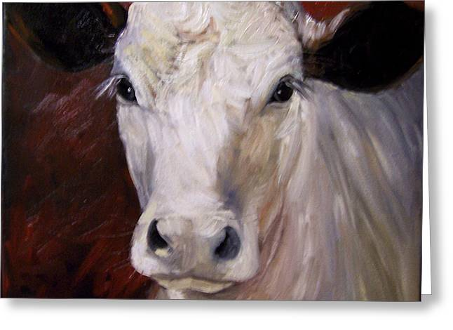 Cow Painting Of Charlene Greeting Card by Cheri Wollenberg