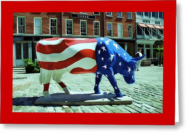 Cow Parade N Y C  2000 - Americow The Beautiful Greeting Card by Allen Beatty