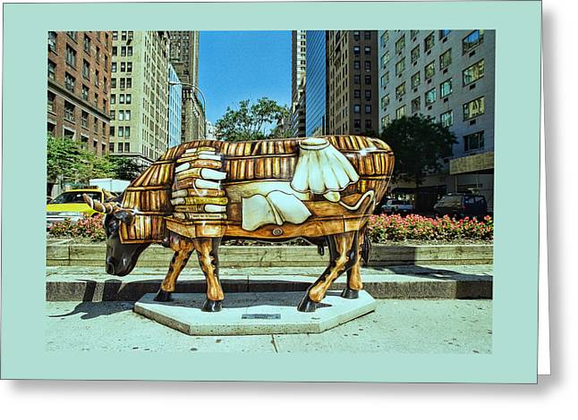 Cow Parade N Y C  2000 -  Cow - To - Book Greeting Card by Allen Beatty
