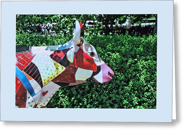 Cow Parade N Y C  2000 - Crazy Quilt Cow Greeting Card by Allen Beatty