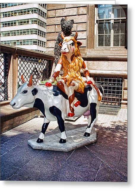 Cow Parade N Y C  2000 - Lady Cowdiva Greeting Card by Allen Beatty