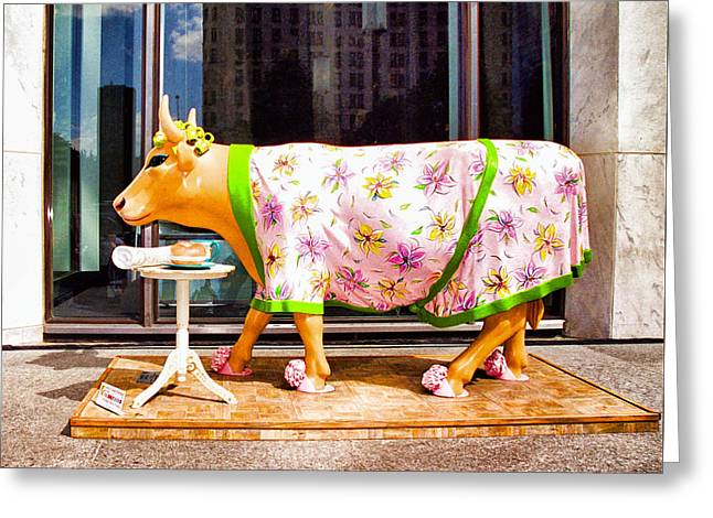 Cow Parade N Y C  2000 - The Early Show Cow Greeting Card by Allen Beatty